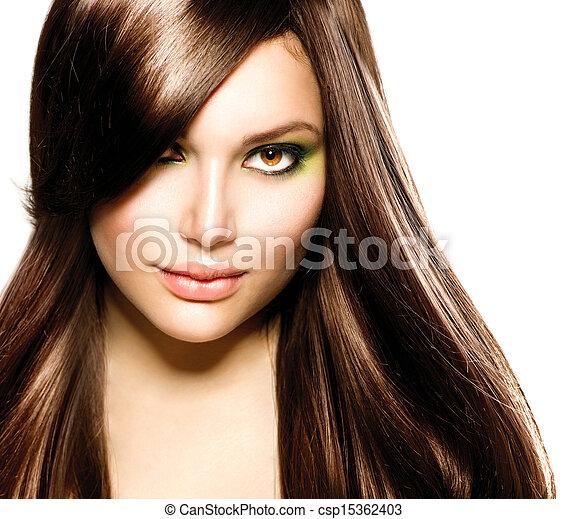 cheveux bruns, girl., brun, sain, long, beau - csp15362403