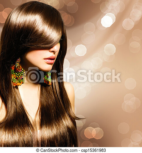 cheveux bruns, girl., brun, sain, long, beau - csp15361983