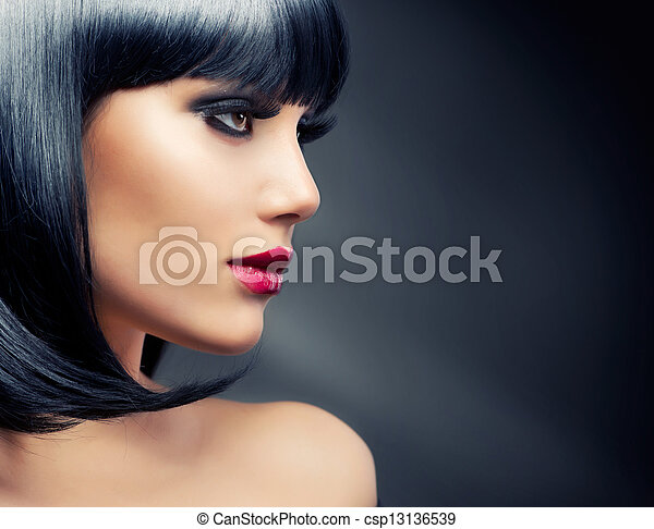 cheveux bruns, girl., noir, sain, beau - csp13136539