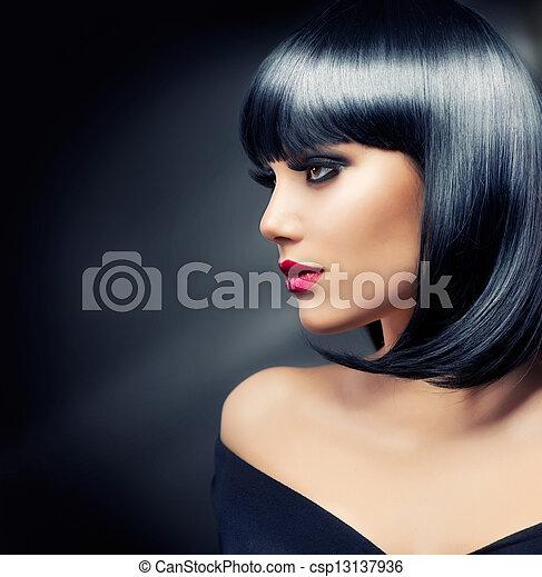 cheveux bruns, girl., noir, sain, beau - csp13137936