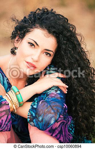 cheveux, femme, bouclé - csp10060894