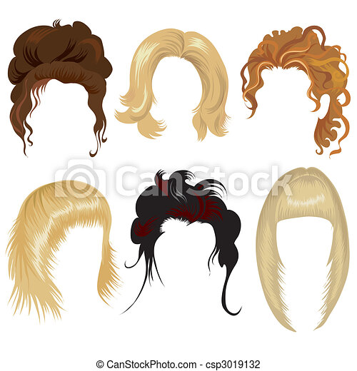 hair style clip art cheveux femme styling cheveux branch 233 femme ensemble 7294 | cheveux femme styling illustration csp3019132