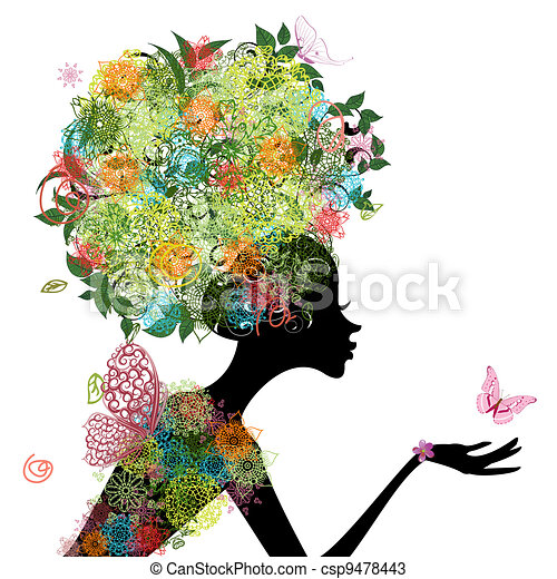 cheveux, girl, mode, arabesque - csp9478443