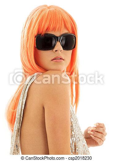 cheveux, orange, girl, nuances - csp2018230