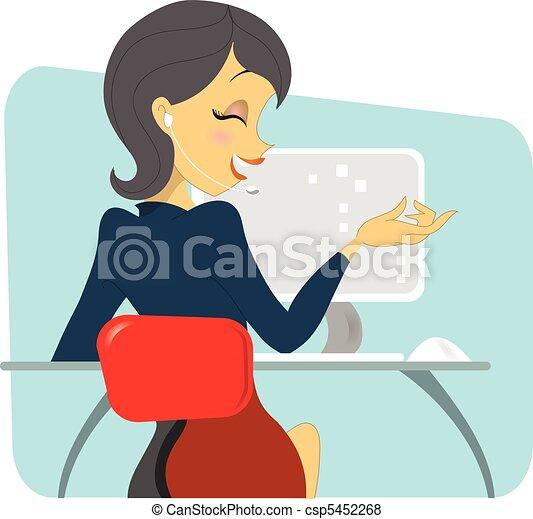 cheveux sombre, femmes, professionnel, téléphone - csp5452268