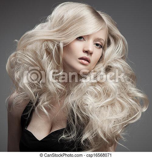 cheveux, woman., bouclé, blonds, long, beau - csp16568071