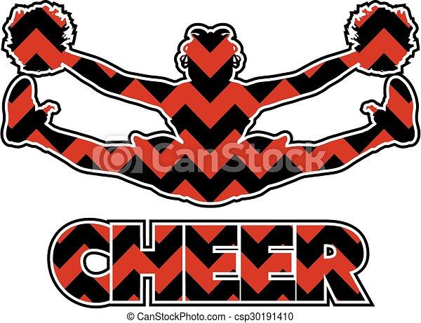 Line Art Vector Design : Chevron cheer design with cheerleader doing a toe touch vector