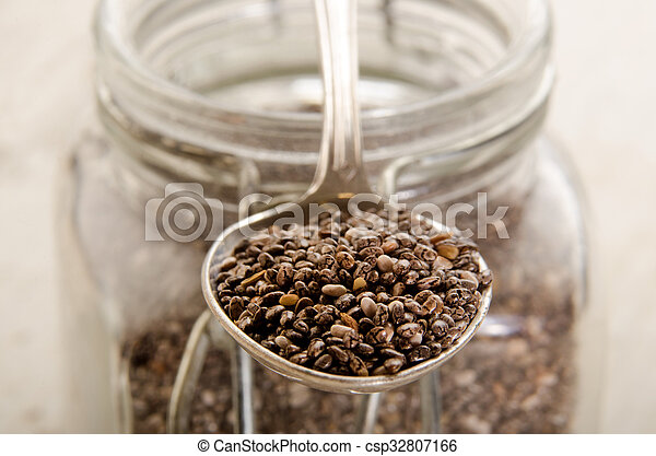 chia seed on a metal spoon - csp32807166