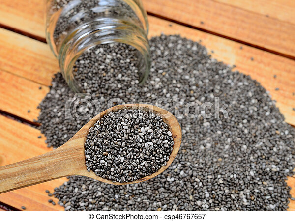 chia seed on table - csp46767657
