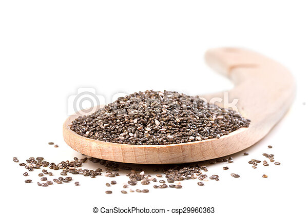 Chia seeds on a white background - csp29960363
