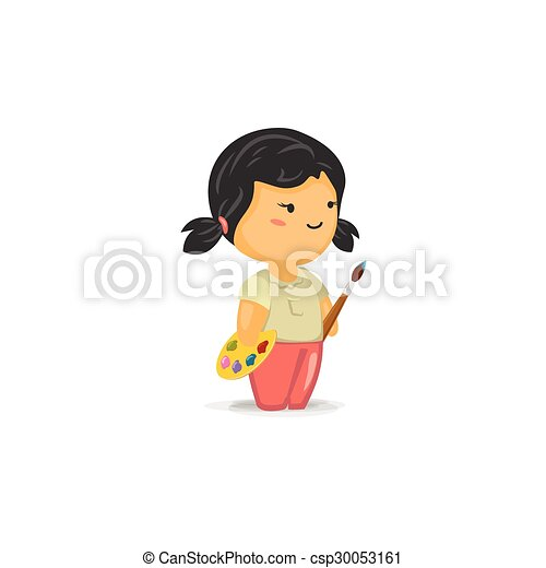 vector cartoon of a cute chibi girl with a paint brush and pallet