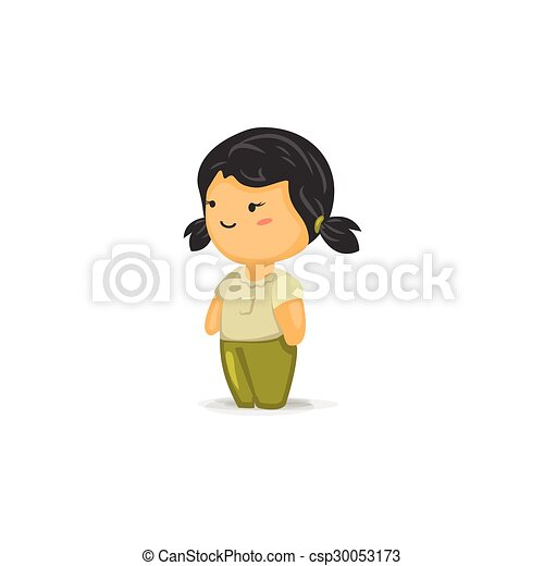 vector cartoon of a chibi girl with pigtails