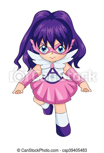 Chibi style illustration of a super-heroine - csp39405483
