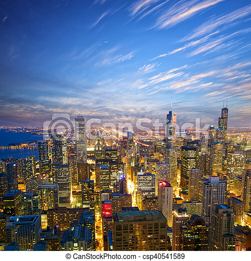 Chicago at dusk - csp40541589