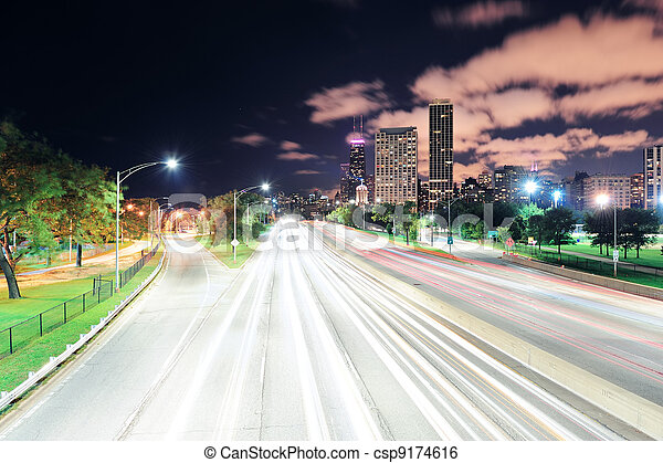 Chicago at night - csp9174616