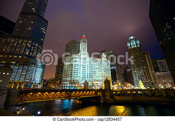 Chicago at night - csp12834457