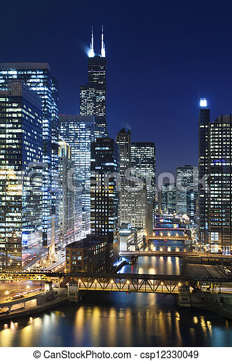 Chicago at night. - csp12330049
