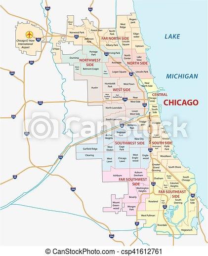 Chicago community map Chicago community vector map clip art vector