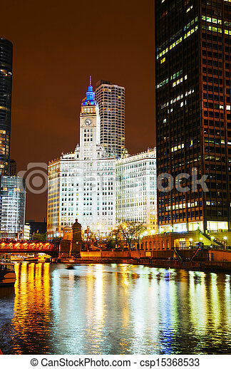 Chicago downtown with the Wrigley building - csp15368533