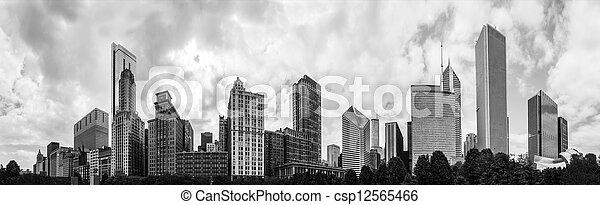 180 grados de panorama de la línea aérea de Chicago en monocromo - csp12565466
