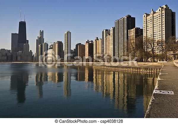 Chicago reflected in Lake Michigan - csp4038128