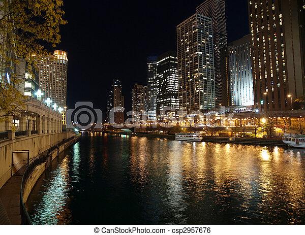 Chicago River Night - csp2957676