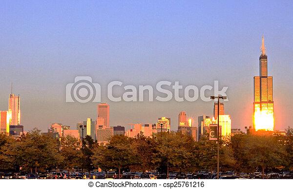 Chicago Skyline in Evening - csp25761216