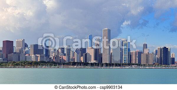 Chicago skyline over Lake Michigan - csp9903134
