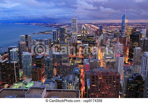 Chicago skyline panorama aerial view - csp9174358