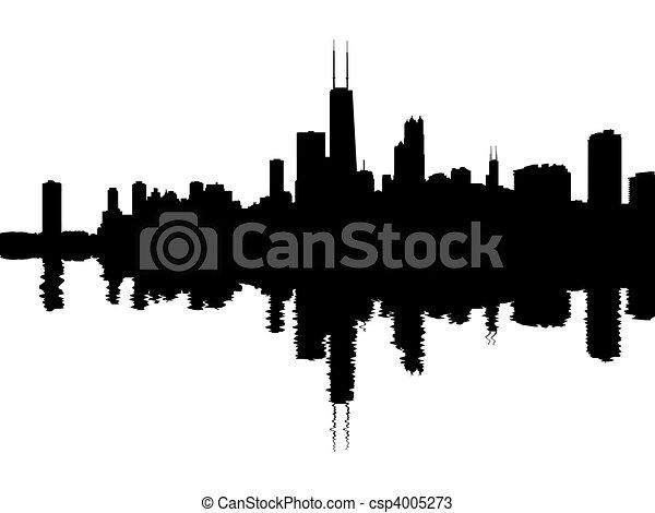 Chicago skyline reflected - csp4005273
