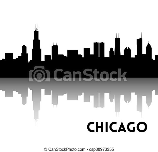 chicago skyline silhouette vector black silhouette of clipart rh canstockphoto com Chicago City chicago skyline black and white clipart