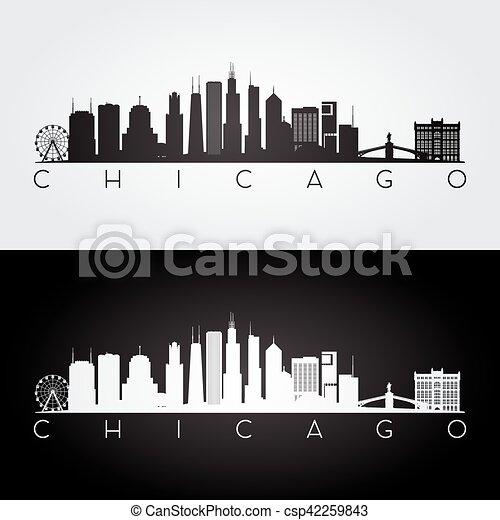 chicago skyline silhouette chicago usa skyline and landmarks rh canstockphoto com chicago skyline vector art free chicago skyline vector free