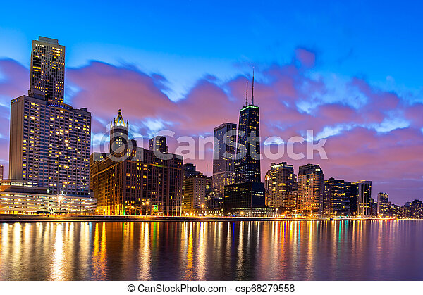Chicago Skylines At Night Sunset At Chicago Skylines Building At Chicago Downtown Along Lake Michigan In Chicago City