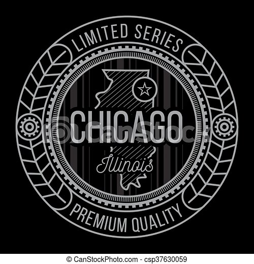 50fa3b4e Chicago typography, modern style seal, t-shirt graphics.