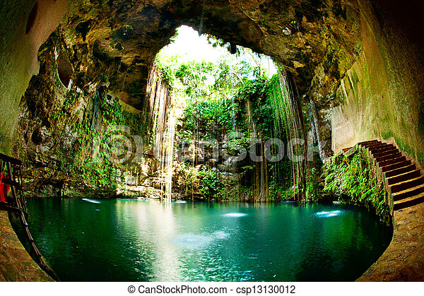 chichen, cenote, itza, ik-kil, 墨西哥 - csp13130012