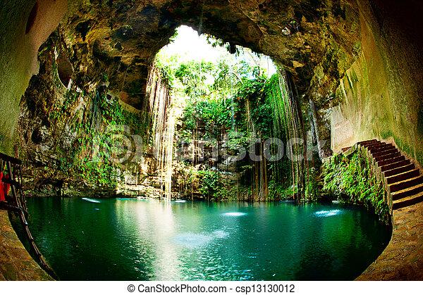 chichen, cenote, itza, ik-kil, mexiko - csp13130012