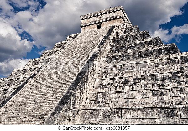 Chichen Itza Mayan Temple in Mexico - csp6081857