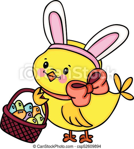 scalable vectorial image representing a chick with bunny eps rh canstockphoto com bunny ears clipart black and white floppy bunny ears clipart