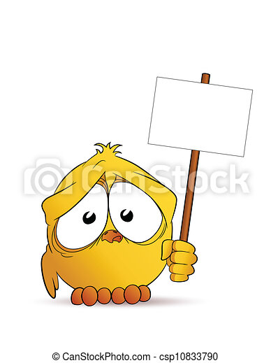 Chick with signboard - csp10833790