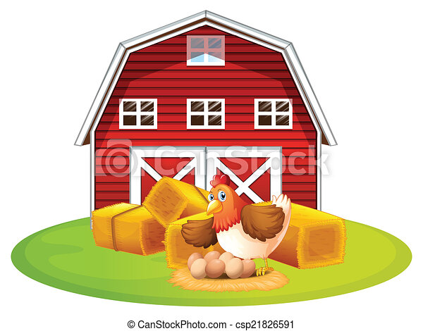 chicken and barn illustration of a chicken and a barn rh canstockphoto com barn clip art public domain barn clip art public domain