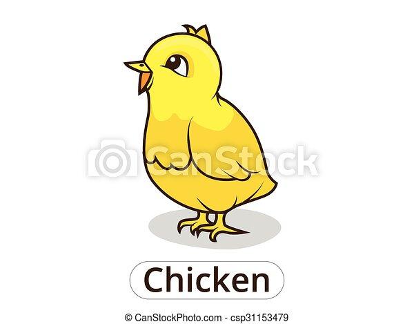 Chicken animal cartoon illustration for children - csp31153479