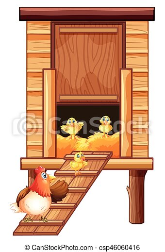 Chicken Coop With Hen And Chicks