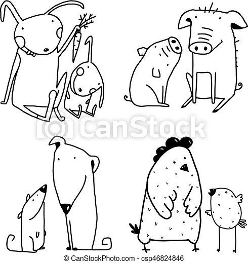 Chicken Dog Rabbit Pig Family Childish Cartoon Clip Art Outline For