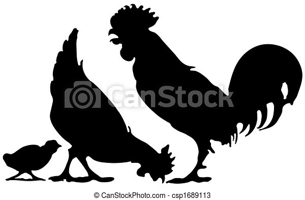 Silhouette Of A Chicken Family Lossless Scalable Eps File