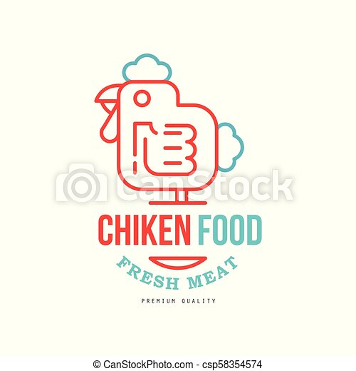 Chicken Food Logo Design Fresh Meat Premium Quality Badge For Farm