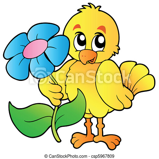 Chicken holding big flower - csp5967809