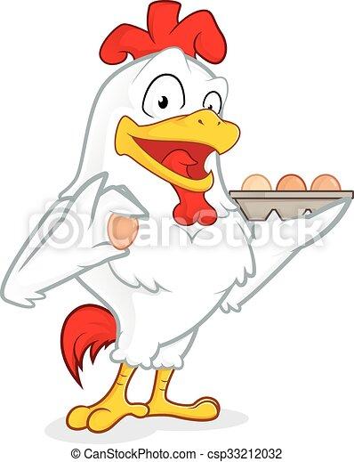 Chicken holding eggs - csp33212032