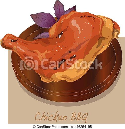 chicken, illustration., bbq, vecto. - csp46254195