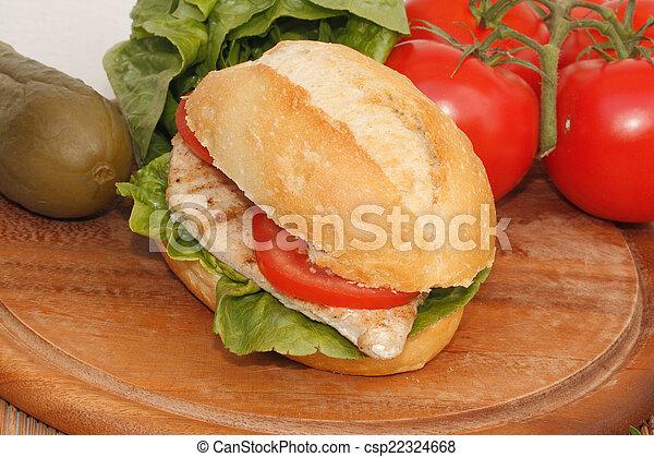 Chicken in a bun - csp22324668