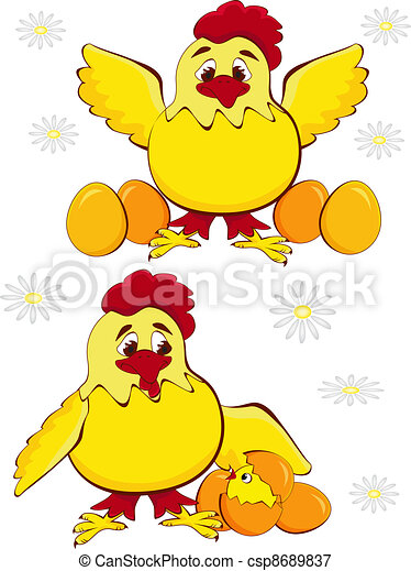 chicken mother with baby egg  - csp8689837